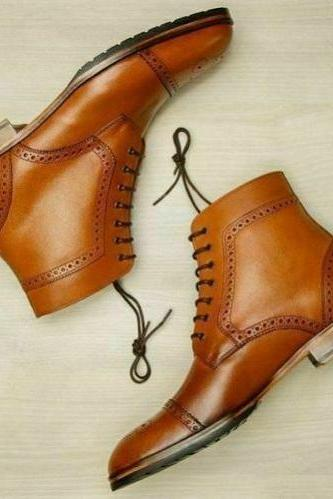 Mens Cognac Leather Handmade Ankle Boots Custom Dress for
