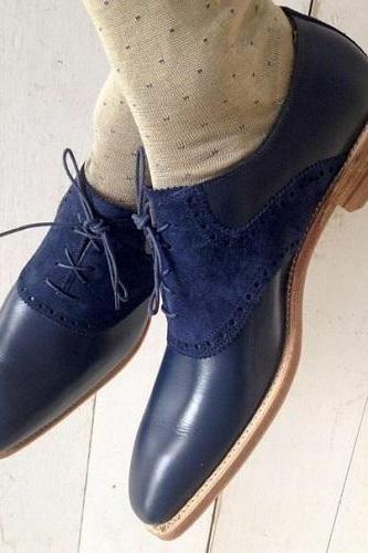 Handmade Blue Leather Oxford Shoes Men Luxury Shoes Buy Best Quality