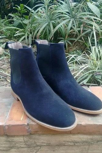 Men Boots Navy Leather Suede Chelsea Custom Made Free