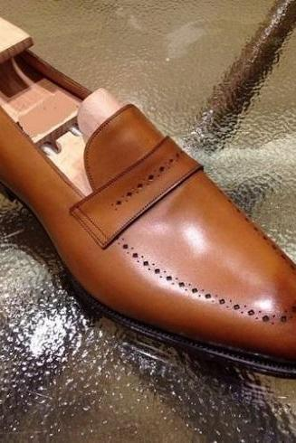 Handmade Cognac Leather Any Cup Loafers for Man Custom Made Shoes