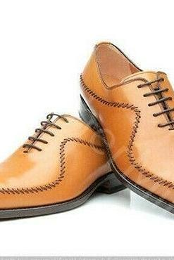 Handmade Cognac Leather Men's Lace-up Richelieu Dress Shoes Bout D'Aile