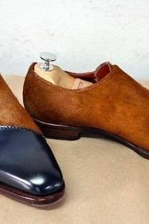 Handmade hair on brown leather oxford two tone shoes for man