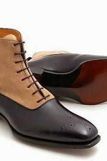 Two Tone Handmade Ankle High Boots for men custom leather shoes for men