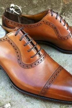 Men's handmade leather formal lace up dress shoes cognac leather formal men shoe