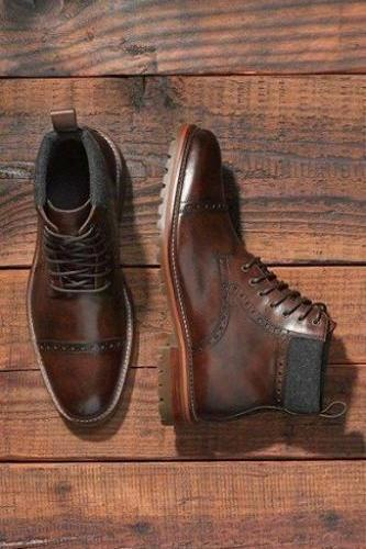 Handmade Men's Brown Leather Ankle High Boots Custom Made Men Boots