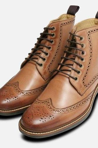 Handmade Brown Leather Men Ankle High Boots Custom