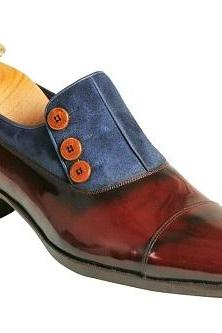 Handmade Leather Tow Tone Buttoned Loafers for Men Custom made shoes for men