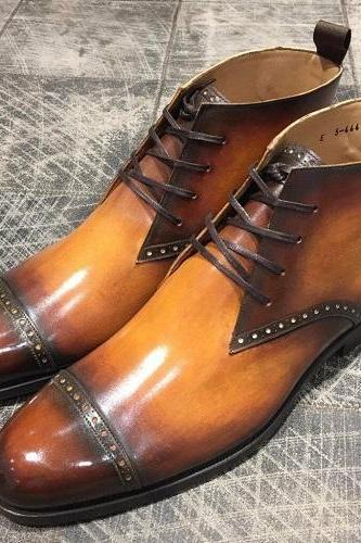 Leather Tan Jodhpur Boots Formal dress boots Men Shoes Custom made boots