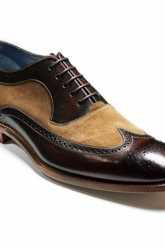 Two tone handmade dress lace up leather shoes for men custom made leather shoes