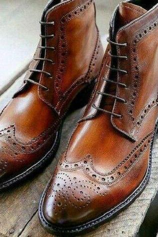 Handmade Men's Brown Leather Ankle High brogue Boots Custom Made Men Boots