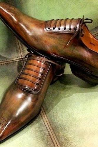 Handmade Men's leather lace up dress shoes unique design custom shoes for men