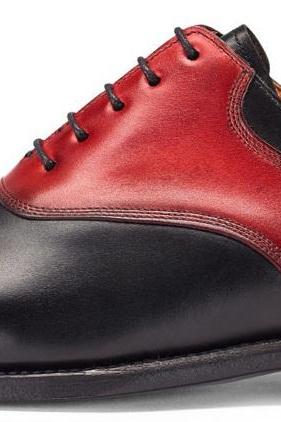 Handmade Men Red Black Laces Genuine Leather Custom Shoes