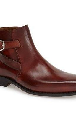 Handmade Custom Men Burgundy Jodhpurs Ankle Genuine Leather Boots