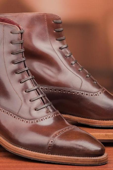 Handmade Men Brown Custom Brogue Laces Genuine Leather Boots