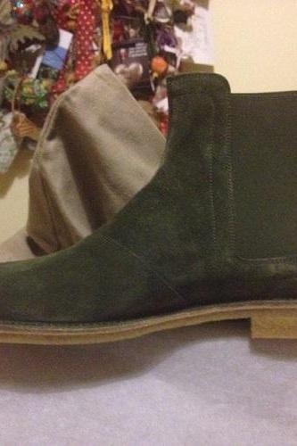 Men Green Chelsea Suede Leather Boots Handmade Custom