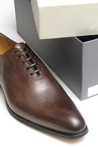 Men Handmade Custom Brown Derby Handmade Genuine Leather Shoes