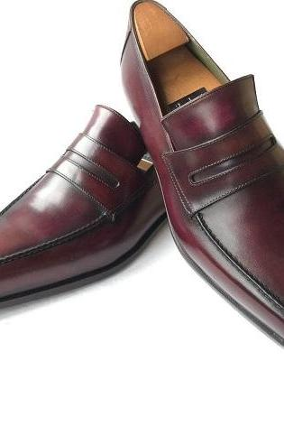 Handmade Men burgundy formal leather Custom made shoes, Men Handmade dress shoes, Leather Handmade custom shoes for mens, Men Handmade Custom made Leather moccasins