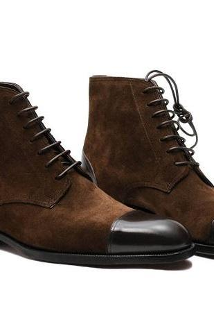 Men's Handmade Custom High Ankle Two Tone Brown Suede Leather Chukka Lace up Real Leather Boots