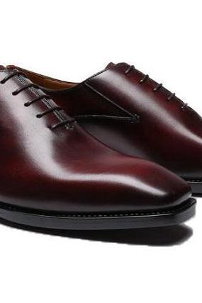 Handmade Custom Maroon Dress Designer Trendy Leather Whole cut Leather Shoes For Men