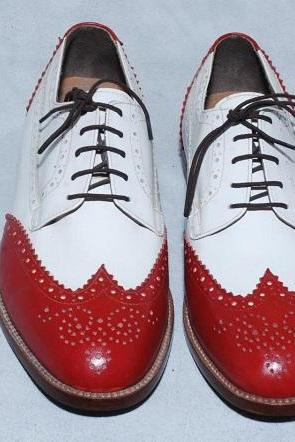 Men Handmade Red White Oxford Leather Shoes Custom made Full Brogues Laceup Genuine Leather Sole
