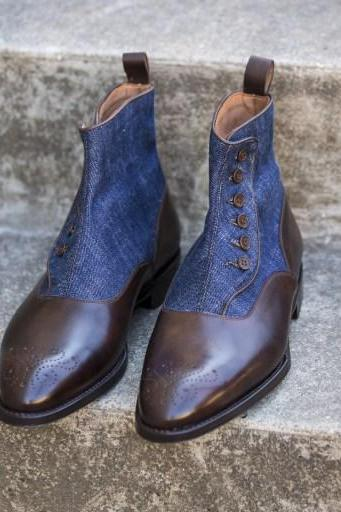Handmade Custom Men Two tone ankle boots, Handmade Men brown and Blue denim ankle button boots