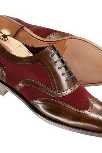 New Handmade Men brown and Burgundy wing tip shoes, Handmade Men two tone formal shoes