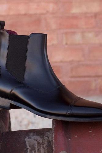 New Handmade Men Black Chelsea Boots, Handmade Custom Men Ankle Boots, Men Leather Boots