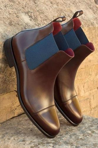 Handmade Custom New Men Brown Chelsea Boots, Men Ankle Boots, Handmade Men Leather Boots