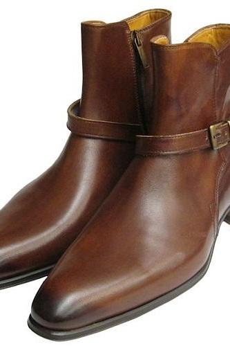New Handmade Men Brown Jodhpurs Boots, Handmade Leather Men Ankle Boots, Custom Made Men Leather Boots