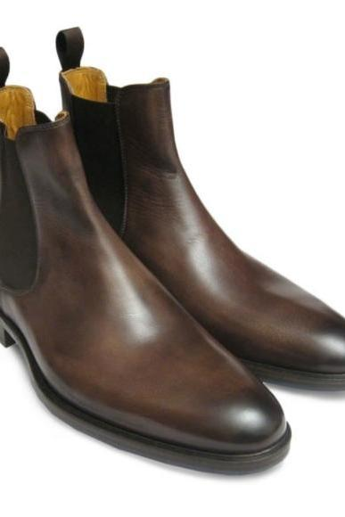 New Custom Made Handmade Men Brown Leather Chelsea Boots, Handmade Men Ankle Boots, Men Chelsea Boot