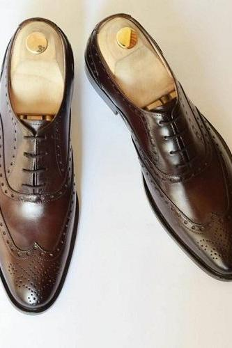 New Handmade Men Wingtip brogue shoes, Handmade Leather Men formal shoes, Custom Made Men brown leather shoes