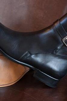 New Handmade Men Black Leather Jodhpurs, Custom Made Men Black Ankle Boots, Handmade Men leather Boots