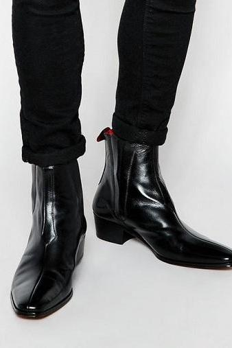 New Handmade Men Black Leather Chelsea Boots, Handmade Custom Men Black Leather Ankle Boots
