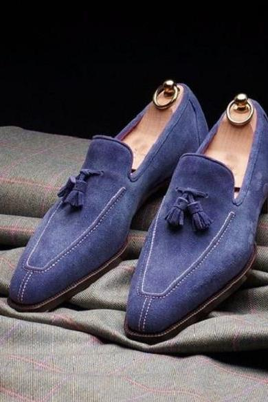 New Handmade Dress shoes for mens, Handmade Men blue Suede Tassels shoes moccasins loafer slip ons