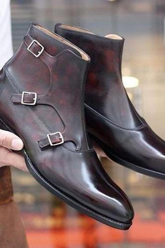 New Handmade Men brown triple monk Boots, Custom Made Mens fashion style ankle leather boots