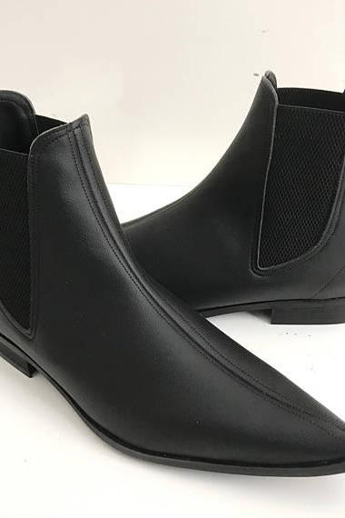 New Handmade Mens Fashion Black Color Chelsea Boots, Handmade Men Black Leather Boots