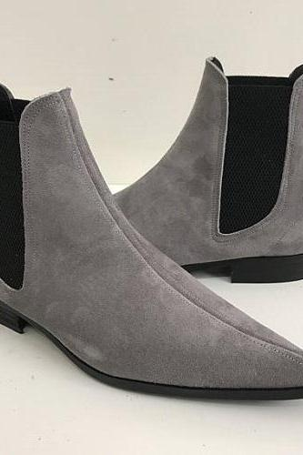New Handmade Men Gray Color Suede Chelsea Boots, Handmade Mens Gray Fashion Chelsea Boot