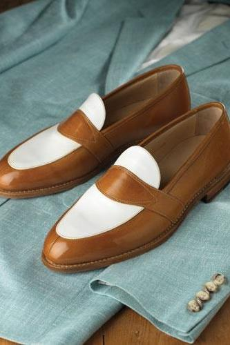 Handmade Men's Two Tone Leather Loafers Custom Made Dress Loafers shoes for men