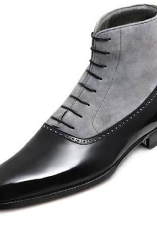 Handmade Men's Two-Toned Leather Boots, Custom Made Ankle boots for men
