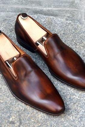 New Handmade Men brown leather shoes moccasins, Custom Made Men leather shoes, Shoes for men