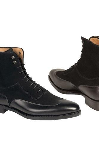 New Handmade Men Fashion Black Color Wing Tip Ankle Boots, Custom Made Men Suede And Leather Boot