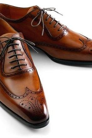New Handmade Men brown wing tip brogue formal leather shoes, Custom Made Men brown dress shoes