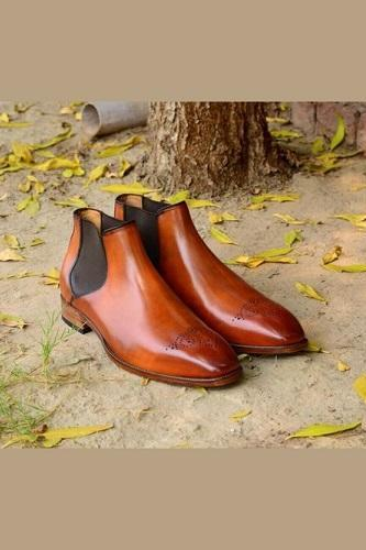 New Handmade Men Tan Color Chelsea Leather Boots, Men Brogue Chelsea Boots, Men boots