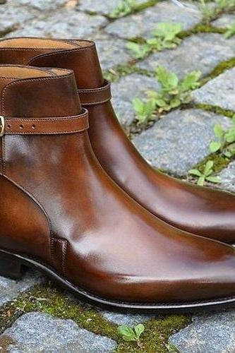 New Handmade Men brown Jodhpurs leather boots, Men ankle leather boots, Men boots