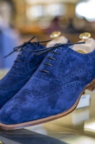 New Handmade Mens Royal Blue Suede Shoes, Men Wingtip Royal Blue Party Shoes