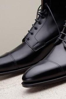 New Handmade men black leather boots, dress boots for men, men ankle high boots