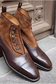 New Handmade Men Two Tone Button Boots, Custom Men Brown Ankle Boots, Men Formal Boots