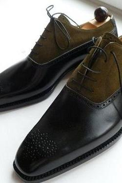 New Handmade men two tone shoes, Handmade Mens fashion laceup formal shoes, Custom made Men dress shoes