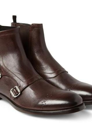 New Handmade Men Triple monk leather boot, Custom Made Men brown ankle boot, Men leather boot