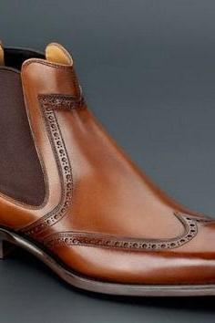 New Handmade Men Brown Wing Tip Brogue Chelsea Boot, Handmade Men Brown Ankle Dress Boot